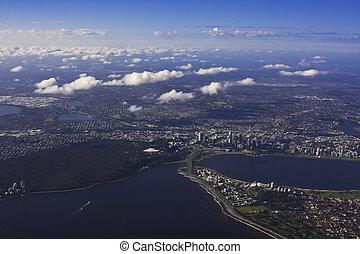雲彩 形成, 看法, 空中, 打破, 澳大利亞, 佩思