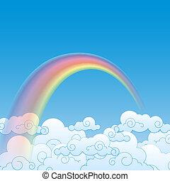 雲, 彩虹, 矢量, 插圖, 鮮艷