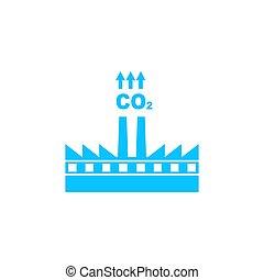 雲, co2, 工廠, 煙, 圖象, 套間, 污染, 煙囪