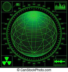 雷達, 屏幕, scale., 全球, 數字