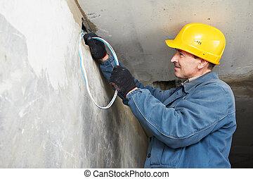 電工, 工作, 裝設金屬線, 電纜
