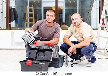 電工, 隊友, 工具, 箱子
