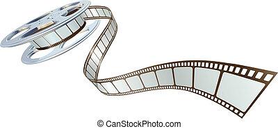 電影, spooling, 卷起, 電影, 在外