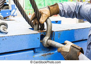 電線, 吊索, 鐐銬, 繩子, 适合, 螺栓, 錨