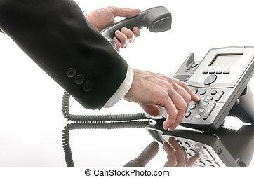 電話, 人, 數字, 事務, 撥