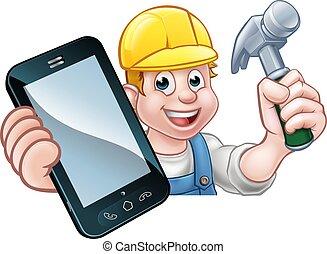 電話, 概念, 做零活的人, 木匠