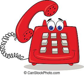 電話, 紅色, 卡通