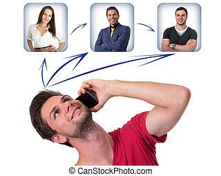 電話, 聯网, 年輕人