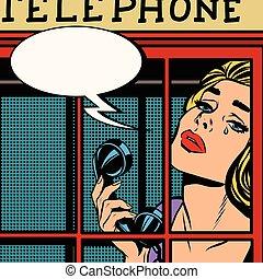 電話, retro, 哭泣, 女孩, 紅色, 布斯