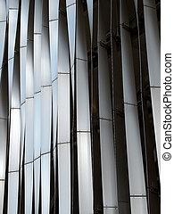 面板, 彎曲, 時髦, 外部, 現代, 圖案, 垂直, cladding, 鋼