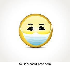 面罩, covid, 臉, 保護, 19, emoticon