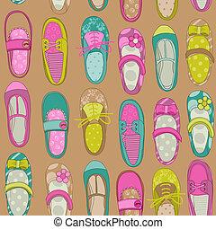 鞋子, -, 矢量, 設計, 背景, 嬰孩, 剪貼簿, 女孩, 或者