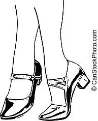 鞋子, 腿, 婦女, 插圖, 特寫鏡頭, 婦女` s