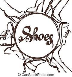 鞋類, 短劍, shoes., 跟, 靴子, 女性的手, 背景, 畫, 插圖