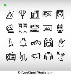 音樂, 圖象, 儀器, 風格, 集合, outline