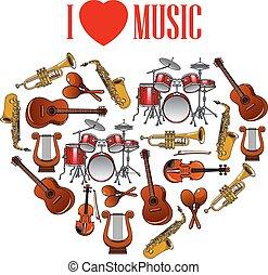 音樂, 藝術, 設計, 心, 儀器