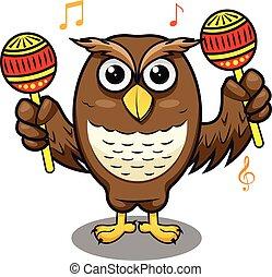 響葫蘆, 結合, 演奏音樂, 表演者, 貓頭鷹