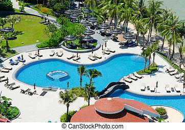 頂部, 旅館, 熱帶, 豪華, 池, 游泳, 海灘, 看法