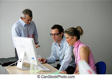 項目, 一起, businesspeople, 工作
