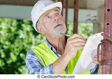 項目, 檢查, 民用, 男性, 站點, 建設, 工程師