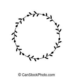 項目, black., 邀請, 裝飾, 元素, 邊框, leaves., 裝飾, 末梢, 問候, 家, 框架, 風格, 植物, 分支, 標識語, 卡片, 花冠, 簡單, 心不在焉地亂寫亂畫, 標簽, circle.