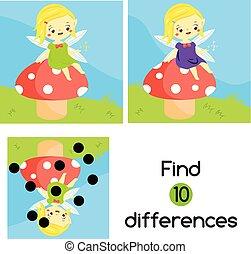 預, 漂亮, differences., 蘑菇, 坐, game., 孩子, 學校, 教育, 活動, 仙女, 年, 發現, kids.