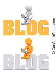 領域, 坐, 徵候。, 字, blog, 3d