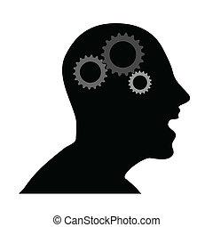 頭, 矢量, 人類, 齒輪, 插圖