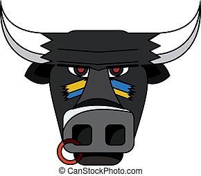 頭, 矢量, illustration., 公牛, 黑色