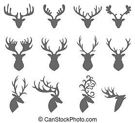 頭, 背景, 鹿, 集合, 黑色半面畫像, 白色