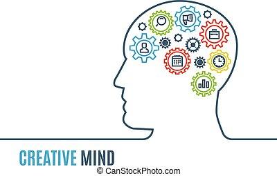 頭, 認為, 插圖, 創造性, 矢量, 齒輪, 人