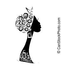 頭, 黑色半面畫像, 裝飾品, 設計, 女性, 种族, 你
