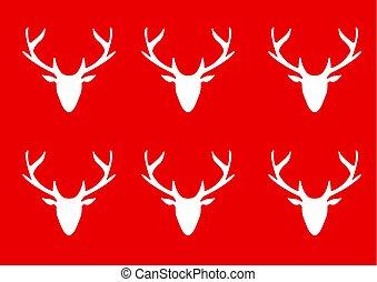 頭, 黑色半面畫像, 鹿, 背景, 白色紅