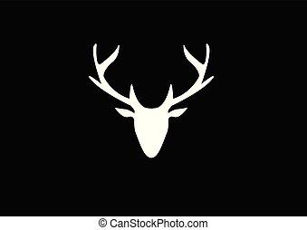 頭, 黑色半面畫像, 鹿, 黑的背景, 白色
