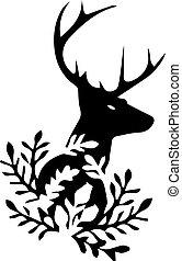 頭, 黑色, 鹿, 背景。, 黑色半面畫像, 白色