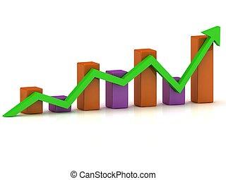 顏色圖表, 事務, 酒吧, 成長, 綠色, 箭