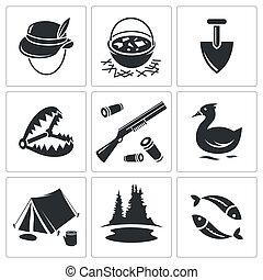 顏色, 圖象, 彙整, 打獵, 釣魚