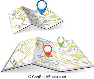 顏色, 地圖, 摺疊, 標誌, 點
