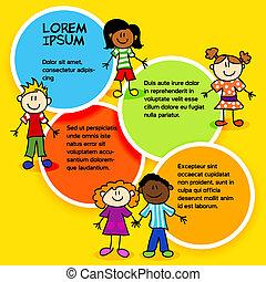顏色, 孩子, circles-2, 卡通