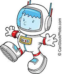 顏色, 宇航員, 男孩, 矢量, 卡通
