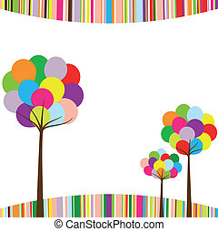 顏色, 彩虹, 摘要, 樹, 春天
