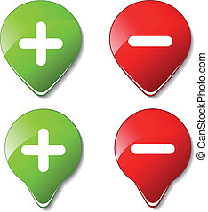顏色, -, 按鈕, 矢量, 加上, 減去