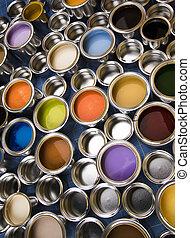 顏色, 畫罐, 金屬, 罐頭