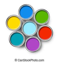 顏色, 畫罐, 頂部, 罐頭