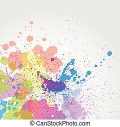 顏色, 畫, 矢量, 飛濺