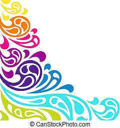 顏色, 背景。, 摘要, 飛濺, 波浪