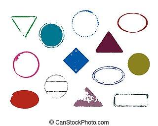 顏色, 郵票, 矢量, 集合