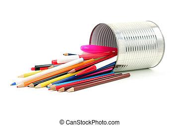 顏色, 鉛筆, 錫