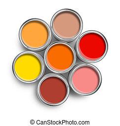 顏色, 頂部, 畫罐, 溫暖, 罐頭