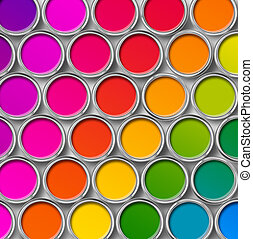 顏色, 頂部, 畫罐, 罐頭, 看法